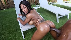 Horny black milf gets fucked at the pool by a big juicy and thick black cock - black porn