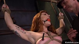 Gagged redhead whipped then banged