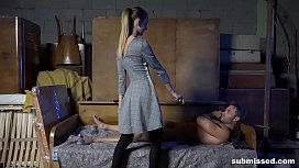 Tied guys gets spanked and abused with a sloppy blowjob