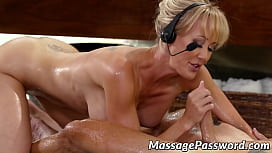 Busty mature Brandi Love is oiled and banged doggy style