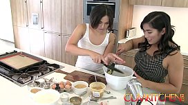 CUM KITCHEN: Hairy Asian Lesbians Mia Li &amp_ Milcah make Cookies and Eat Pussy