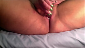 Florence Dixon exploring her creamy pussy with a purple dildo and willing ass with glass dildos
