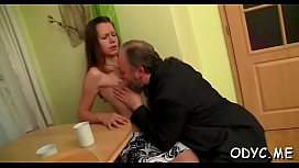 Skinny amateur slut gets licked and rides an old cock wildly