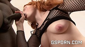 Hot redhead with hairy pussy fucked by big black cock
