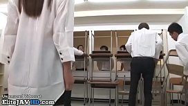 Japanese beautiful teacher has sex with horny students