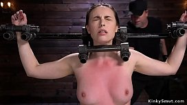 Brunette in bondage feet and pussy tormented