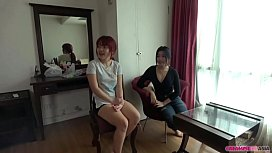 Threesome with two young Thai girls
