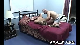 Cheerful girl getting her tight cherry fucked