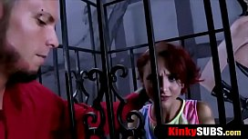 Inked punk redhead teen gets rough fucked in a cage