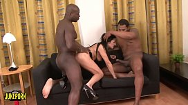 Housewife makes a threesome with two  big black cocks