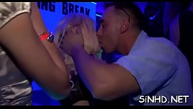 Marvelous babes are wet with lusty needs during club partying
