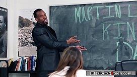 Hot brunette sucks black professors dick
