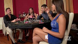 Two Incredible babes fucked hard in the casino
