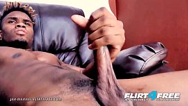 Jax Maxwel - Flirt4Free - Ripped Ebony Hunk Unloads Cum From His Tasty BBC