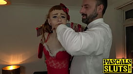 Kinky sub Azura Alii costumed for hardcore anal and facial