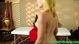 Filmed cutie sucking on masseurs cock