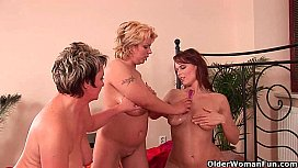 Two soccer moms and one granny in lesbian threesome