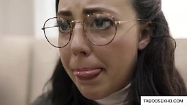 Nerdy brunette teen deepthroat by older guy