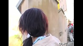 Startling barely legal brunette sweetie Helen and hunk in this video