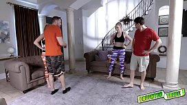 Blonde teens swap dads and deepthroat blowjobs them!