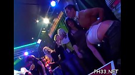 Tons of gangbang on dance floor blow jobs from blondes with sperm at face