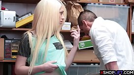 Blonde teen suspected and fucked by a mall cops hard cock