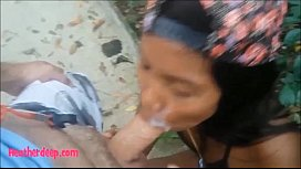 Tiny Asian Thai Teen Heather Deep gives deepthroat throatpie with condom and eats cum