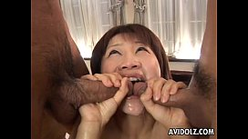 Lovely Asian double blowjob and sex
