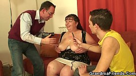 Two dudes with old big boobs woman