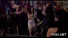 Yong gals in club are fucked hard by mature mans in ass and puss in time