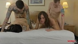 Hot American trannies with mouths and asses open wide to service thick hard cocks with gusto