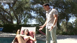 He catches his daughter-in-law sunbathing topless in the backyard