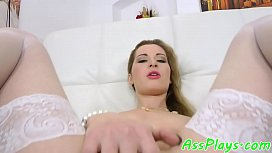 Glam babe anally banged by fat cock
