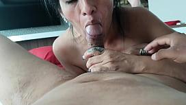 Mature girlfriend sucks cock of her young boyfriend