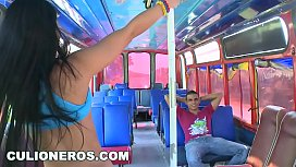 CULIONEROS - Colombian Babe Natasha Gets Her Big Ass Fucked In A Moving Bus