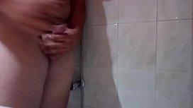 Big cumshot in shower with small cock