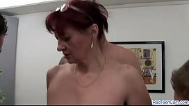Mature redhead gangbanged by the squad