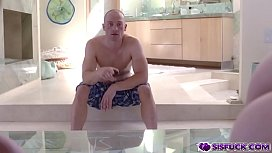 Stepbros huge cock goes in and out off our pussies!