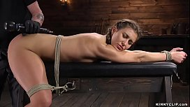 Bound beauty gagged and toyed