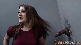 Teen gobbles huge cock