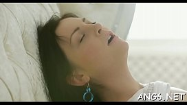 Agreeable chick is sucking schlong wildly after deep pussy slamming