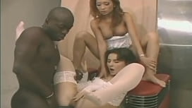 Interracial anal trio backstage