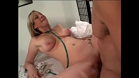 Busty blonde nurse has her cunt checked out with cock thermometer