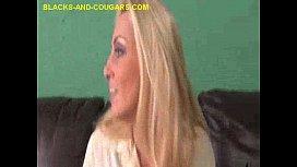 MILF Blonde Strips and Sucks Black
