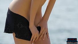 Petite Russian model Sade Mare hot outdoor striptease