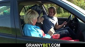 Picked up old blonde rides his big dick roadside