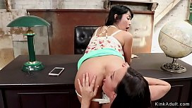 Petite Asian lesbian anal strap on fucked