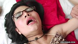 Juicy Asian bitch in lingerie getting doggystyle boned