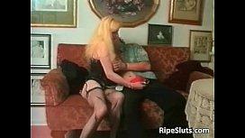 Horny blonde mum sucks cock before she