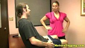 Mature spex mama tugging hard cock